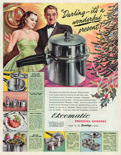 Ekcomatic Pressure Cookers Advertisement, 1950.