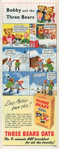 Three Bears Oats Advertisement, 1951.