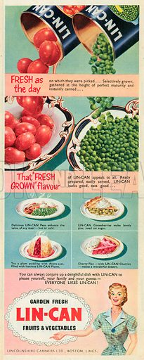 Lin-Can Fruits and Vegetables Advertisement, 1952.