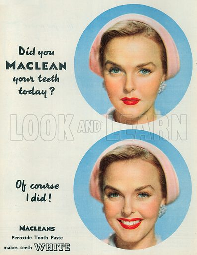 Macleans Peroxide Tooth Paste Advertisement, 1950.