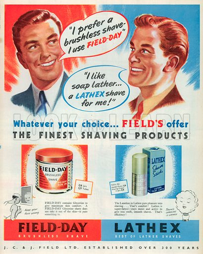 Field-Day Brushless Shave and Lathex Advertisement, 1950.