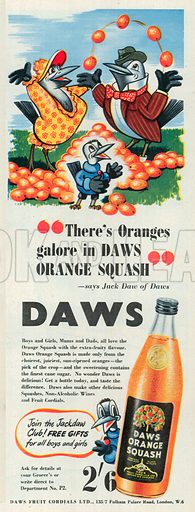 Daws Orange Squash Advertisement, 1950.
