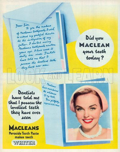 Macleans Peroxide Toothe Paste Advertisement, 1950.