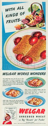 Welgar Shredded Wheat Advertisement, 1950.