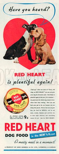 Red Heart Dog Food Advertisement, 1950.