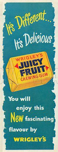 Wrigley's Juicy Fruit Chewing Gum Advertisement, 1950.