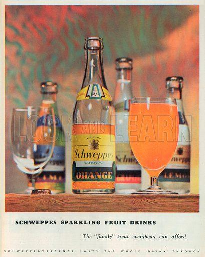 Schweppes Sparkling Fruit Drinks Advertisement, 1950.