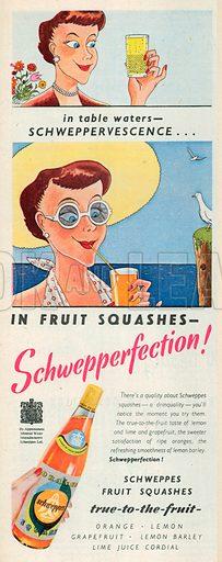 Schweppes Fruit Squashes Advertisement, 1950.