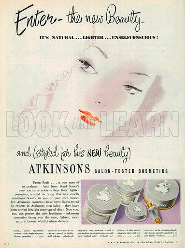 Atkinsons Salon Tested Cosmetics Advetisement, 1950.