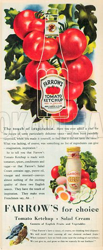 Farrow's Tomato Ketchup Advertisement, 1950.
