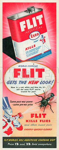 Flit Kills Flies Advertisement, 1950.