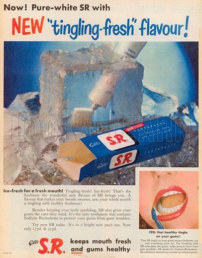 Gibbs S.R. Toothpaste Advertisement, 1953.