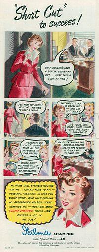 Icilma Shampoo Advertisement, 1950.