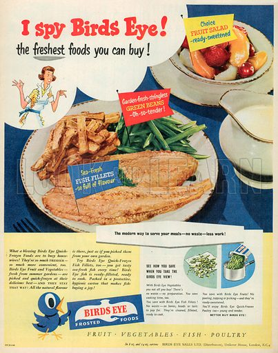 Birds Eye Frosted Foods Advertisement, 1952.