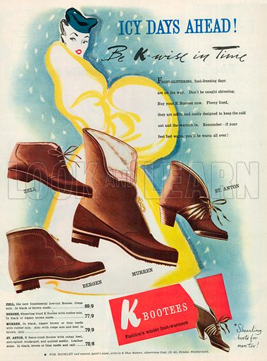 K Bootees Advertisement, 1952.