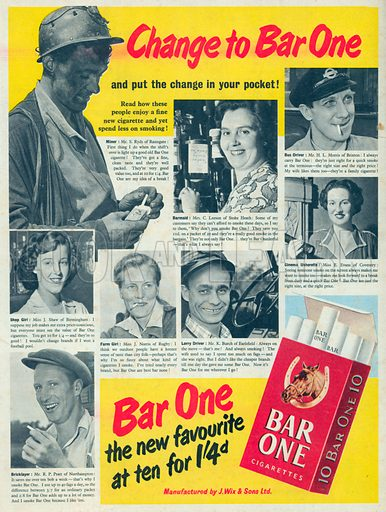 Bar One Cigarettes Advertisement, 1952.