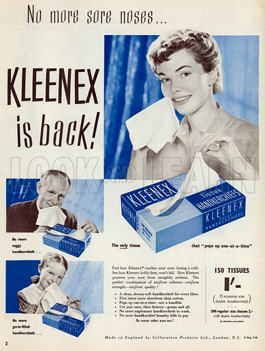 Kleenex Tissue Handkerchiefs Advertisement, 1952.