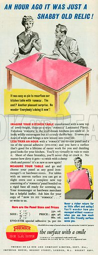 Formica Laminated Plastic Advertisement, 1953.