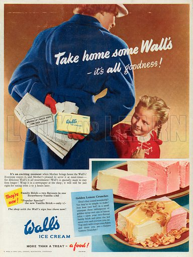 Wall's Ice Cream Advertisement, 1953.