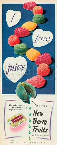 Meltis New Berry Fruits Advertisment, 1956.