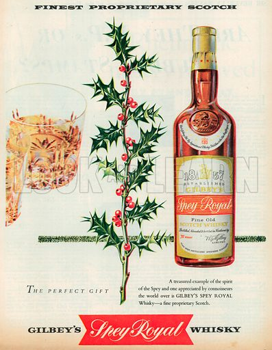 Gilbey's Spey Royal Whisky Advertisement, 1956.