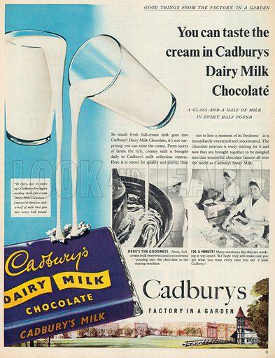 Cadbury's Dairy Milk Chocolate Advertisement, 1955.