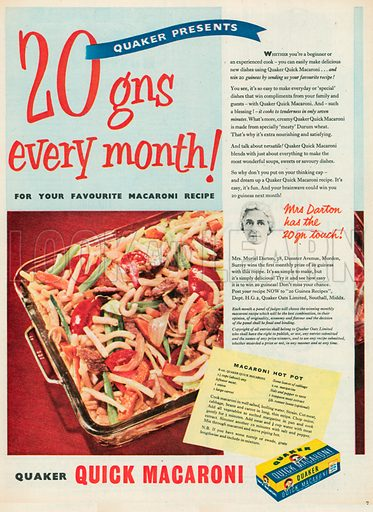 Quick Macaroni Advertisement, 1955.
