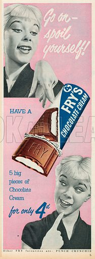 Fry's Chocolate Cream Advertisement, 1954.