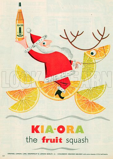 Kia-Ora Fruits Squash Advertisement, 1954.