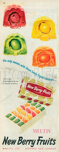 Meltis New Berry Fruits Advertisment, 1954.