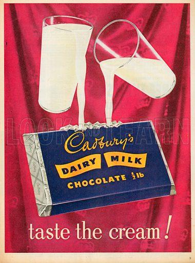 Cadbury's Dairy Milk Chocolate Advertisement, 1953.