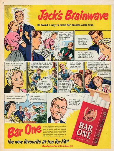 Bar One Cigarettes Advertisement, 1952.