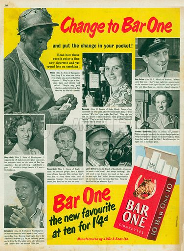 Bar One Cigarettes Advertisment, 1952.