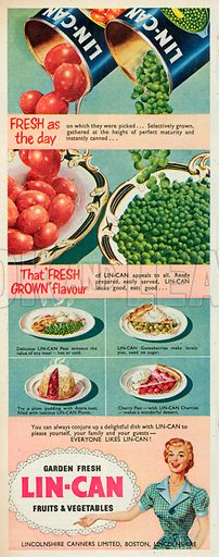 Lin-Can Fruits & Vegetable Advertisment, 1952.