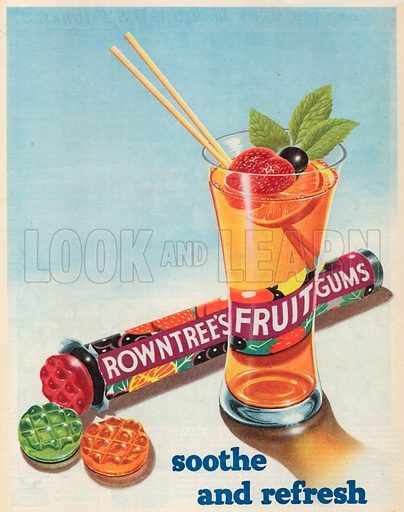 Rowntree's Fruit Gums Advertisement, 1954.