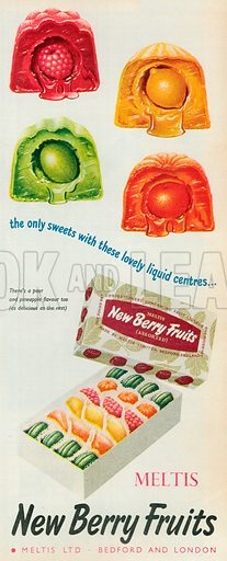 Meltis New Berry Fruits Advertisment, 1954.