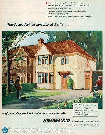 Snowcem Waterproof Cement Paint Advertisement, 1954.