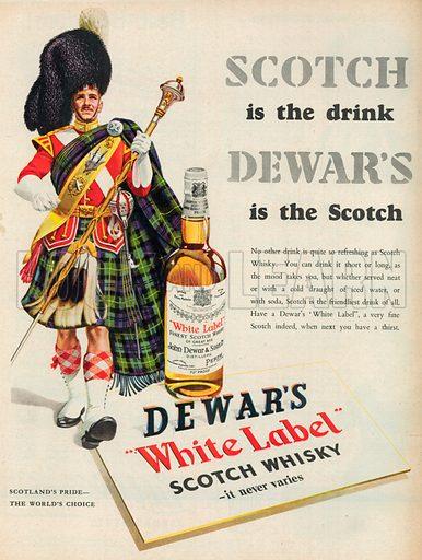 Dewar's White Label Scotch Whisky Advertisement, 1954.