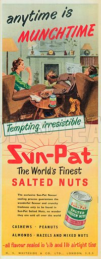Sun Pat Salted Cashew Nuts Advertisement, 1953.
