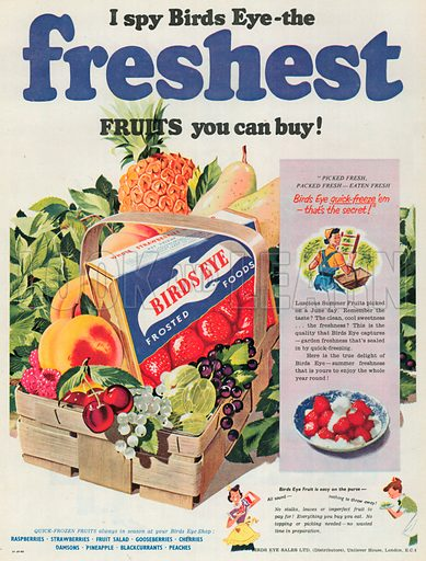 Birds Eye Frosted Food Advertisement, 1953.