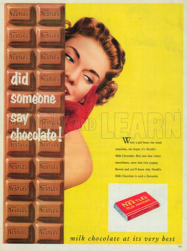 Nestle's Milk Chocolate Advertisement, 1956.