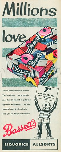 Bassett's Liquorice Allsorts Advertisement, 1955.