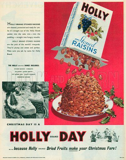 Holly Brand Stoned Raisins Advertisement, 1955.
