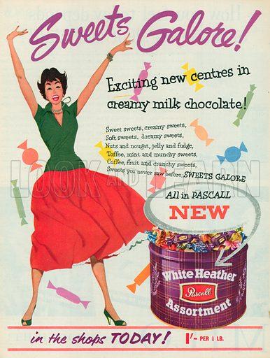Pascall White Heather Assortment Advertisement, 1955.