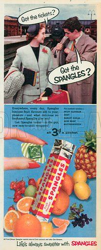 Fruit Flavour Spangles Advertisement, 1955.