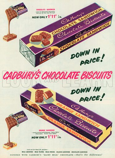 Cadbury's Chocolates Sandwich Advertisement, 1955.
