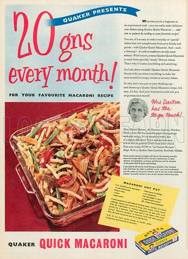 Quick Macaroni Advertisement, 1955.