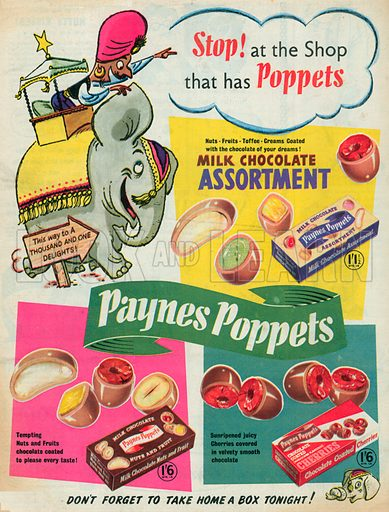 Paynes Poppets Advertisement, 1955.