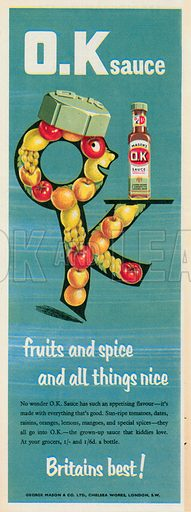 Mason's O.K Sauce Advertisement, 1955.