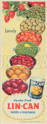 Lin-Can Fruit and Vegetables Advertisement, 1952.